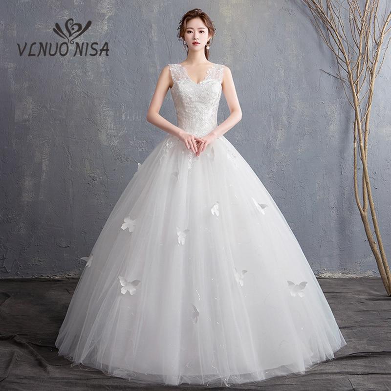 VLNUO NISA Elegant Lace Wedding Dress 3D Butterfly