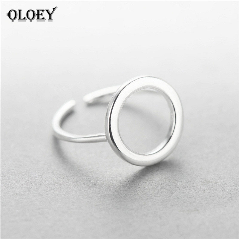 Oloey Actual 925 Sterling Silver Spherical Circle Open Rings For Girls Character Easy Fashion Woman Anti-Allergy Superb Jewellery Ymr009