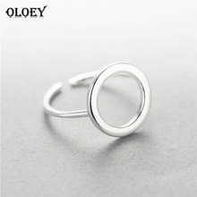 OLOEY Real 925 Sterling Silver Round Circle Open Rings For Women Personality Simple Style Lady Anti-Allergy Fine Jewelry YMR009