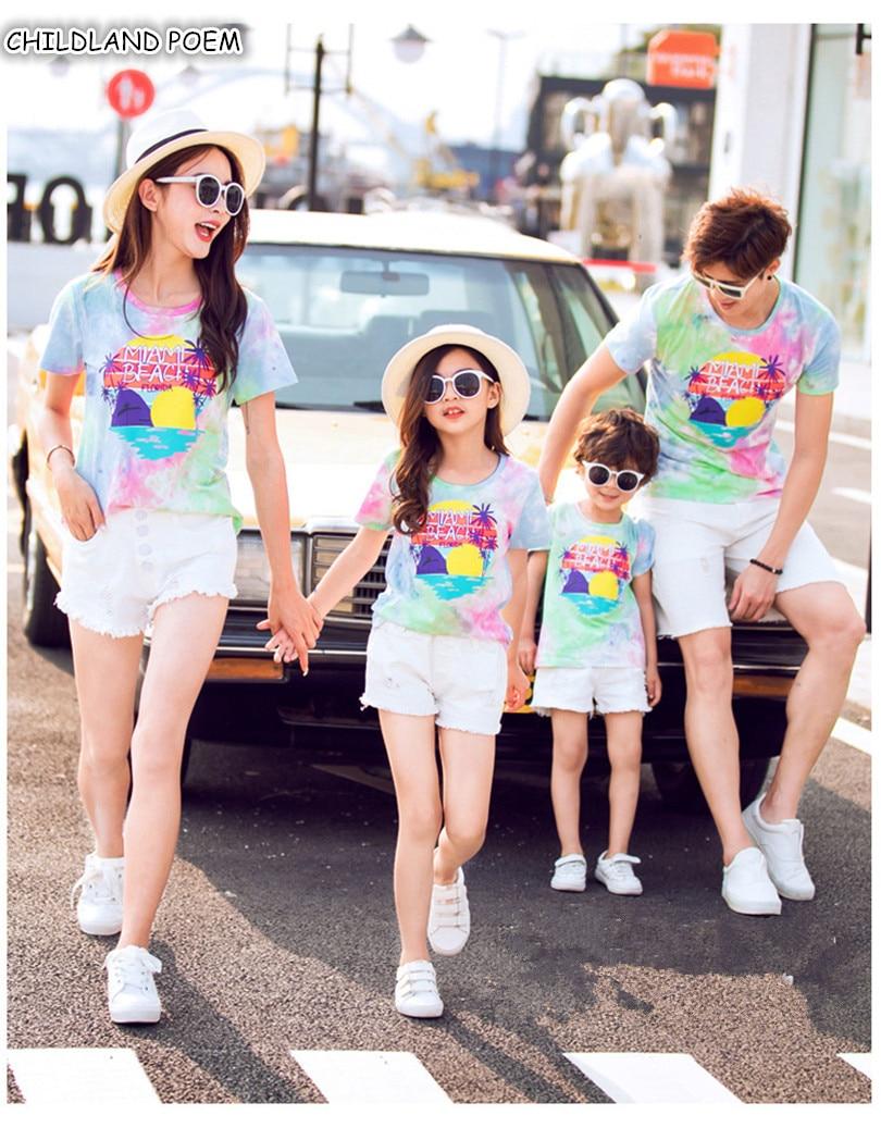 Famille correspondant vêtements été famille Look mère fille père papa fils T-shirt coton maman et moi vêtements t-shirts tenues