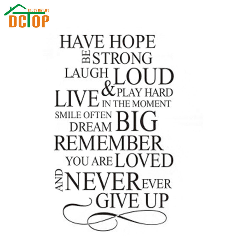Never Give Up On Life Quotes Dctop Have Hope Be Strong Never Give Up House Rules Quote Pvc Wall