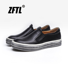 ZFTL New Men Loafers lazy shoes Man causal slip-on genuine leather male leisure  069