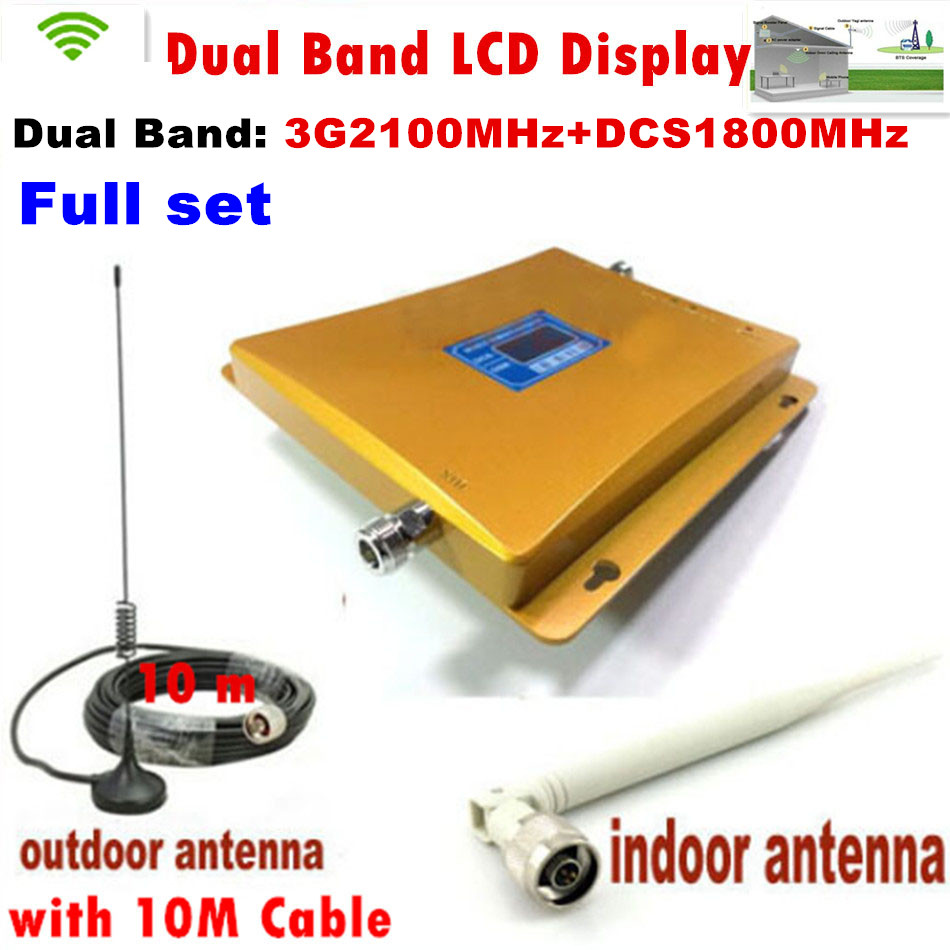 FULL SET LCD Booster High Gain Dual Band Mobile Phone 3G Signal Booster DCS 1800 Mhz W-CDMA 2100 Mhz Signal Repeater Amplifier