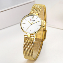 CURREN Women Watches Female Stainless Steel Mesh Strap Quartz Watch Gold Bracelet Wristwatch Ladies Dress Clock Relogio Feminino curren women watches luxury gold black full steel dress jewelry quartz watch ladies fashion elegant clock relogio feminino 9015