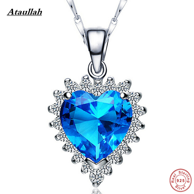 Ataullah Blue Sapphire Heart Summer Style 925 Sterling Silver Maxi Necklace & Pendants Handmade Jewelry  NWP014