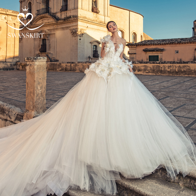 Swanskirt Romantic Deep V Neck Wedding Dresses 2019 Luxury