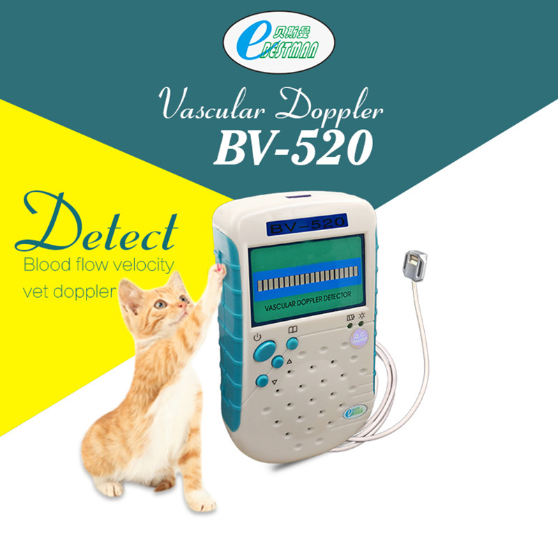 Veterinære vaskulære Doppler 9mhz Flat Probe Detect Animal Blood Flow Velocity Vet Doppler Ultralyd BV520 Pet Health Products