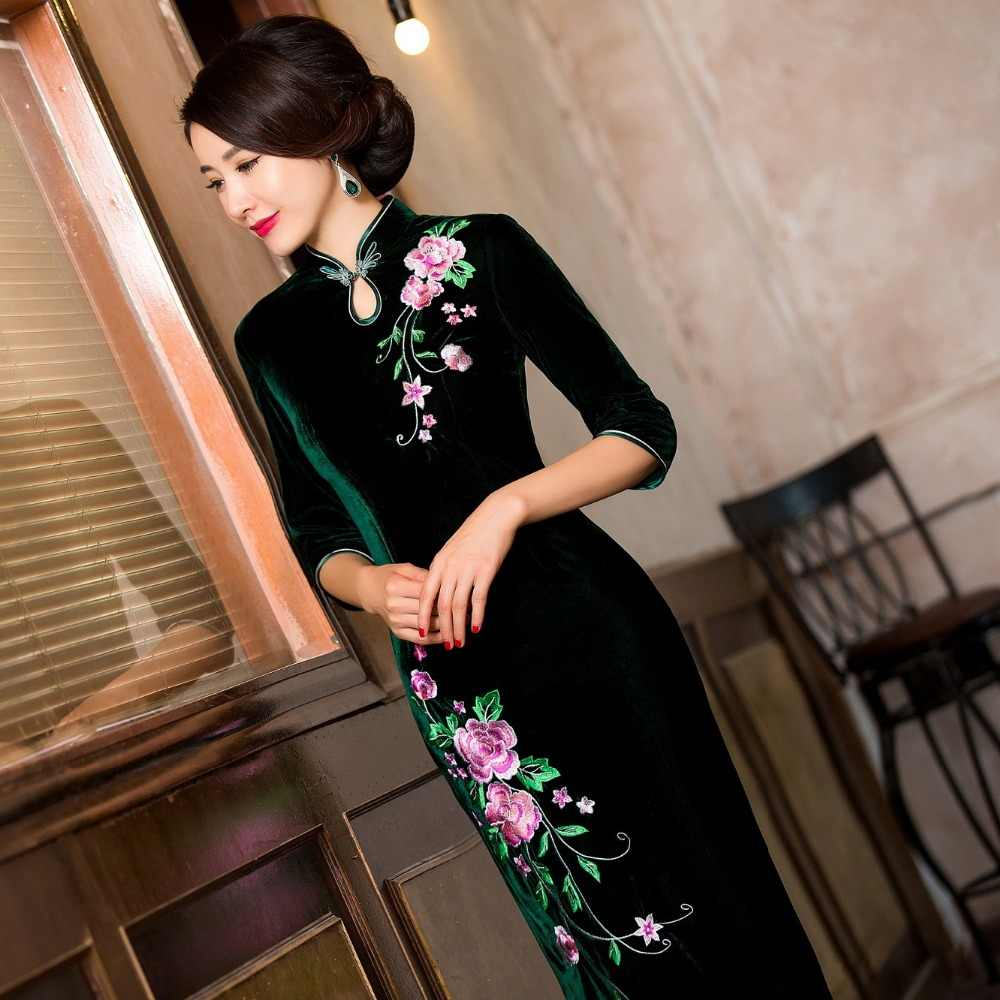 ac961c1c3dd49 Charming Retro Chinese Women Autumn Winter Velour Cheongsam Dress QiPao  Long Party Wear Cheongsams Dresses for Women Lady