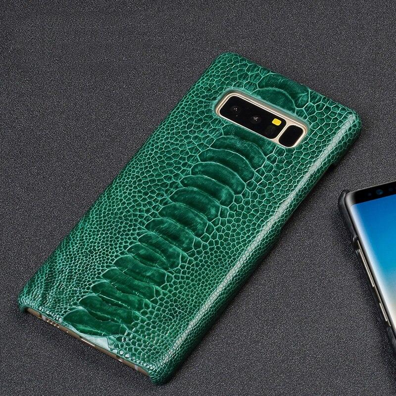 Étui pour Samsung S10 en cuir véritable peau d'autruche naturelle haut de gamme Anti-chute pour Samsung S8 étui S9 note 8 note 9