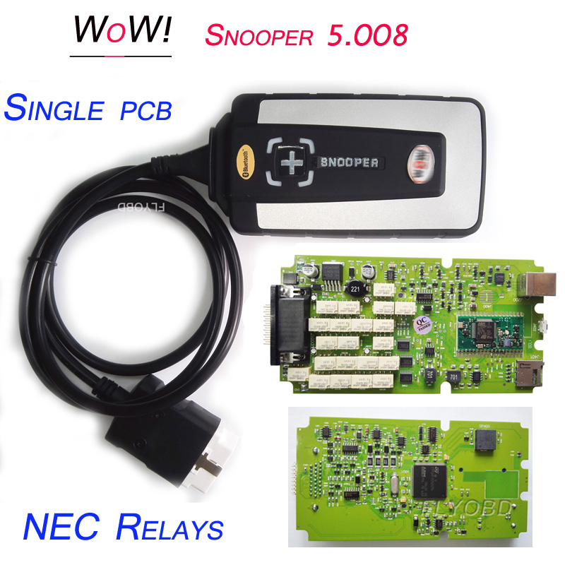 2018 Best Quality WOW Snopper Single PCB CDP TCS Car Diagnostic Tool wow V5.00.8R2 Software WoW Snooper Scanner Free ship