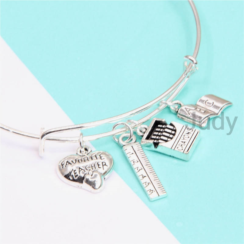 12pcs/lot teacher-Bracelet with rule crayons box ABC book for teacher silver tone bangle ...