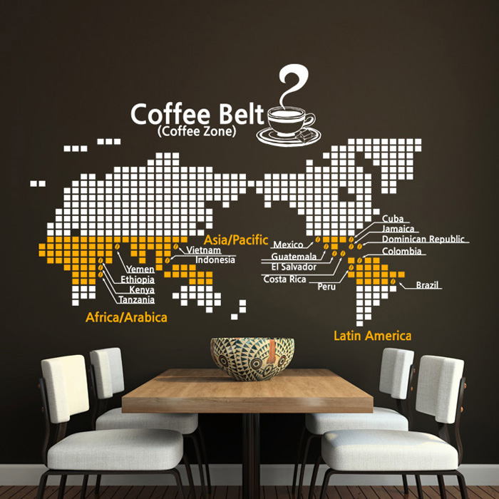 New Map Coffee Shop Wall Sticker World Map Design Cafe