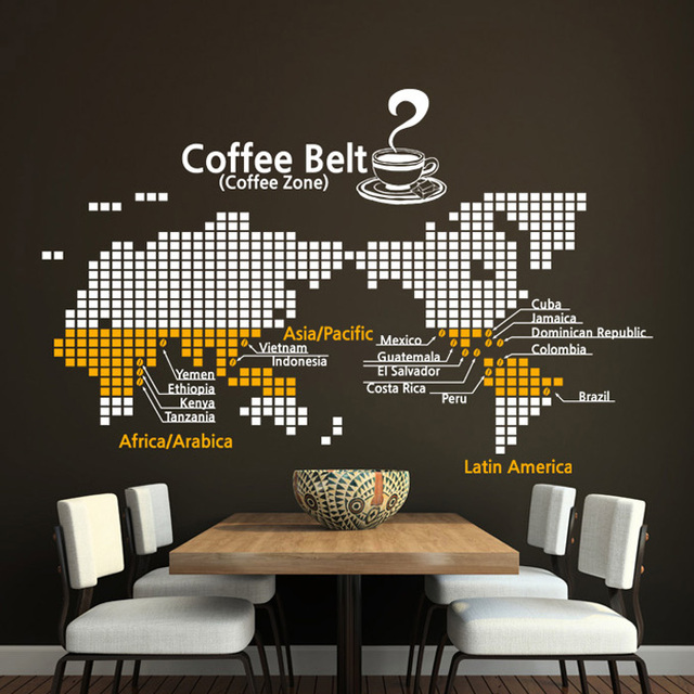New Map Coffee Wall Sticker World Design Cafe Cup Logo Art