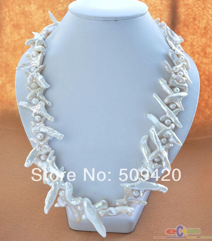 women Fashion Jewelry Free Shipping >>>>>P4178 NATURE 20 WHITE CROSS BAROQUE KESHI REBORN PEARL NECKLACEwomen Fashion Jewelry Free Shipping >>>>>P4178 NATURE 20 WHITE CROSS BAROQUE KESHI REBORN PEARL NECKLACE