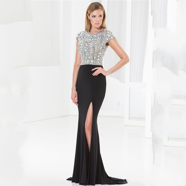 2015 luxuly long evening dress mermaid with crystals wedding guest dresses women long dress wedding party