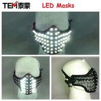 Ücretsiz kargo LED Parlayan Işık Maskeleri Kahraman Yüz Koruma PVC Masquerade Partisi Cadılar Bayramı Doğum Günü Maskeler LED
