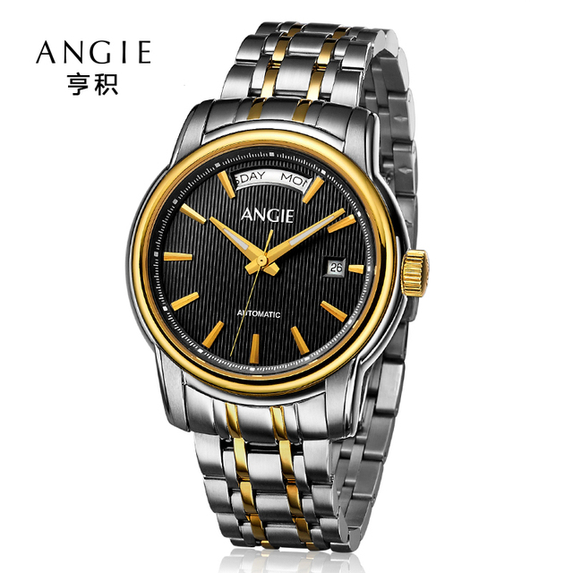 edcc17278bf Angie Luxury Automatic Mechanical Watch Men High Quality Double Calendar  Watch Hollow Skeleton Wrist Watches Relogio Masculino