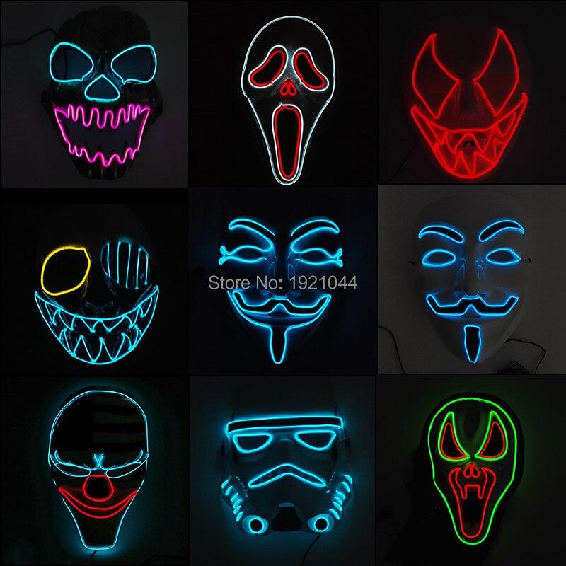 EL drót borzalmas maszkok Halloween maszk ragyogó EL drót - Ünnepi és party kellékek