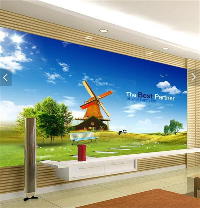 custom 3d photo wallpaper living room mural spring lawn scenery photo picture sofa TV background non-woven wallpaper for wall 3d romantic fashion wallpaper non woven vintage flower butterfly living room background wall wallpaper 3d stereoscopic large mural