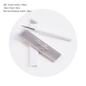 Image 3 - Kaş Manuel dövme kalemi 3 Kafaları Kilit Iğne 30 adet İğneler Kalıcı makyaj kalemi Kaş Dudak Dövme Microblading kalem