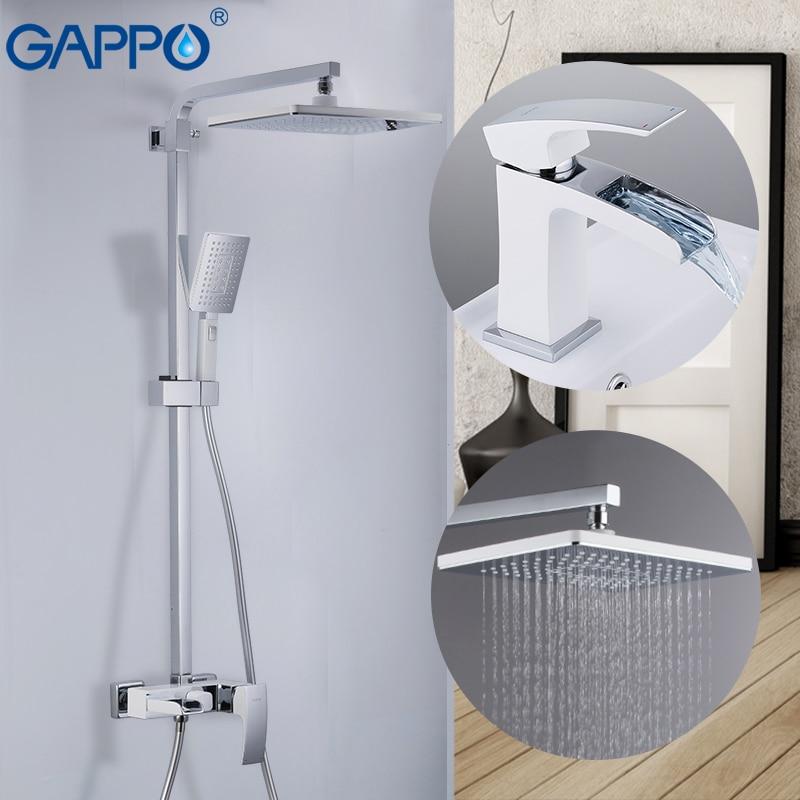 GAPPO rubinetto del bacino rubinetti doccia bicromato di potassio e di muro bianco montato set doccia deck mounted bacino lavandino rubinetto in ottone set