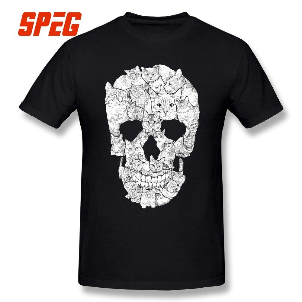 El cráneo de un gato diseño Horror T camisa de manga corta de los hombres Terror Camiseta de algodón de alta calidad de cuello redondo camisetas impresión de