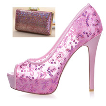 Sparkling hot pink see though mesh sequins shoes with same color clutch handbag 4 party event wedding prom pumps with bag kit