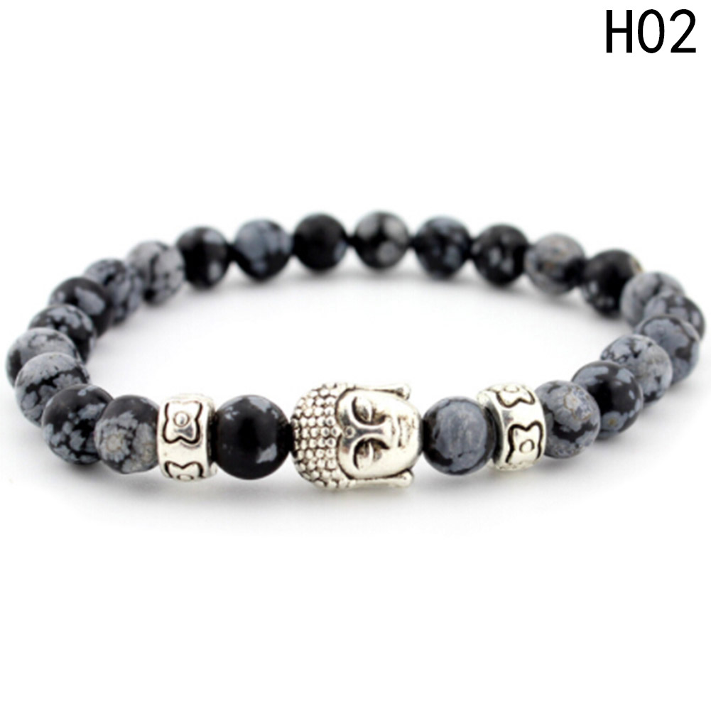 2018 Mens Handmade Elastic Band Nylon Wirstband String Buddha Head Beaded Bracelets & Bangles Jewelry Accessories For Male
