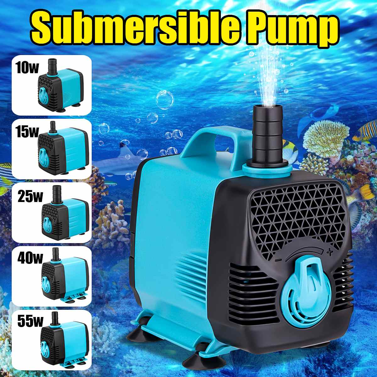 110-220V 10-55W Multifunctional Aquarium Water Pumps Tank Pond Pool Fountains Pump Waterproof Submersible Fish Pond Water Pump