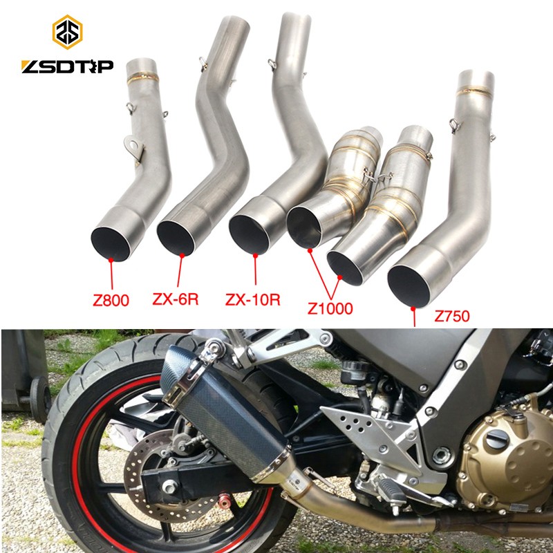 ZSDTRP Motorcycle Exhaust Middle Link Pipe Accessories Escape Connection System For Kawasaki Z750/800 Z1000 ZX6R ZX10R 2007-2016ZSDTRP Motorcycle Exhaust Middle Link Pipe Accessories Escape Connection System For Kawasaki Z750/800 Z1000 ZX6R ZX10R 2007-2016