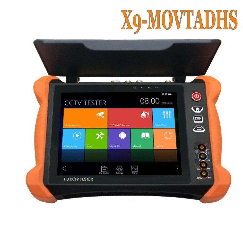 Wanglu Профессионального видеонаблюдения тестер инструменты X9 8 дюймов H.265 4 К 8MP TVI CVI AHD SDI CVBS IP Камера Тестер монитор с TDR, кабель tracer