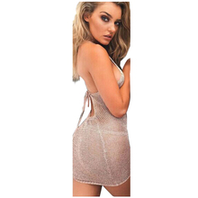 b0f5c9be8ba MYPF-1 piece pink flash cotton summer ladies knitted halter bikini blouse  dress