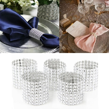 1/10pcs Gold Silver Napkin Ring Chairs Buckles Wedding Event Decoration Crafts Rhinestone Bows Holder Handmade Party Supplies image