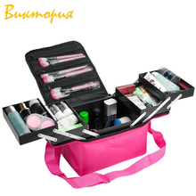 CHARA'S Cosmetic bag women's Professional level Folding tray Storage cosmetic travel Box make up Oxford hand