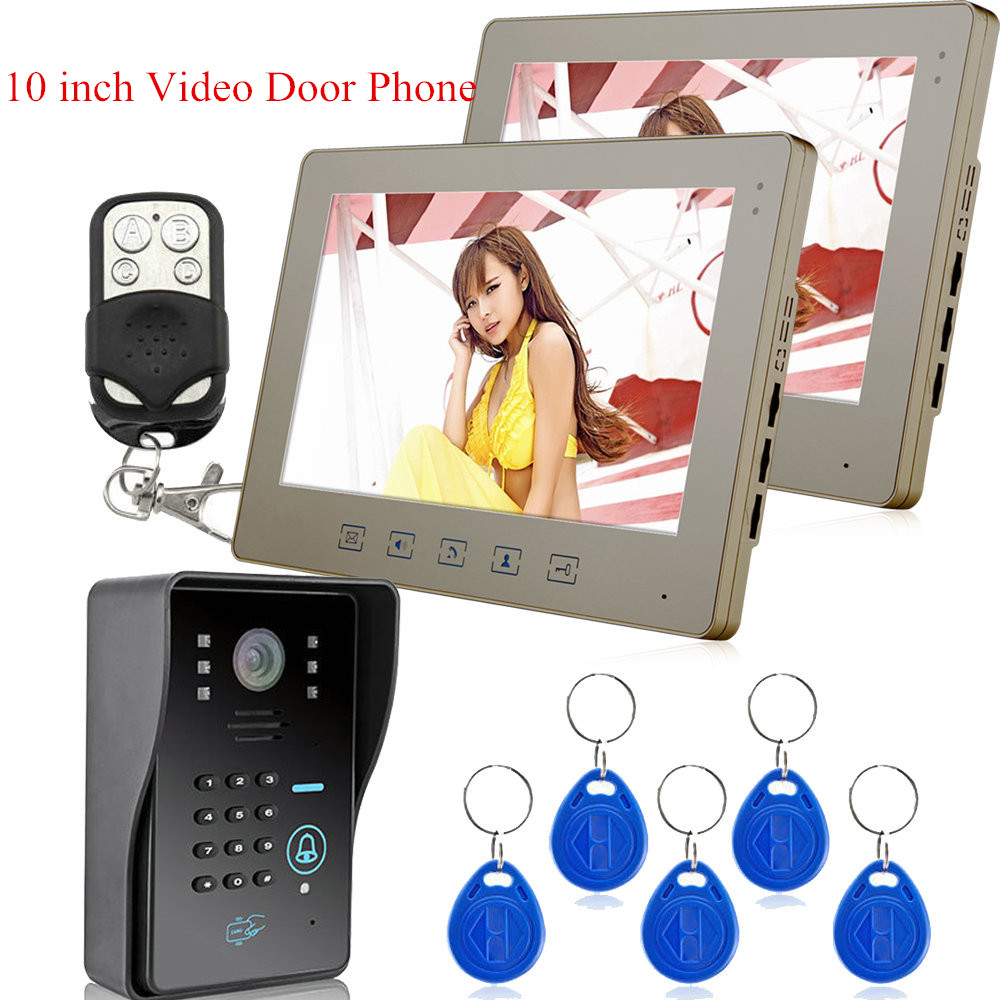 Wired 10 inch Color Video Door Phone Doorbell Intercom System 1 RFID Access Camera + 2 Monitors
