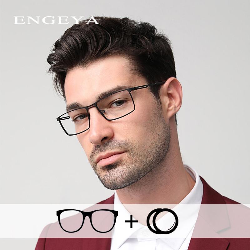 Alloy Men Prescription Glasses Ultra Light Fashion Diopter Clear Transparent Myopia Optical Prescription Eyewear #IP9009