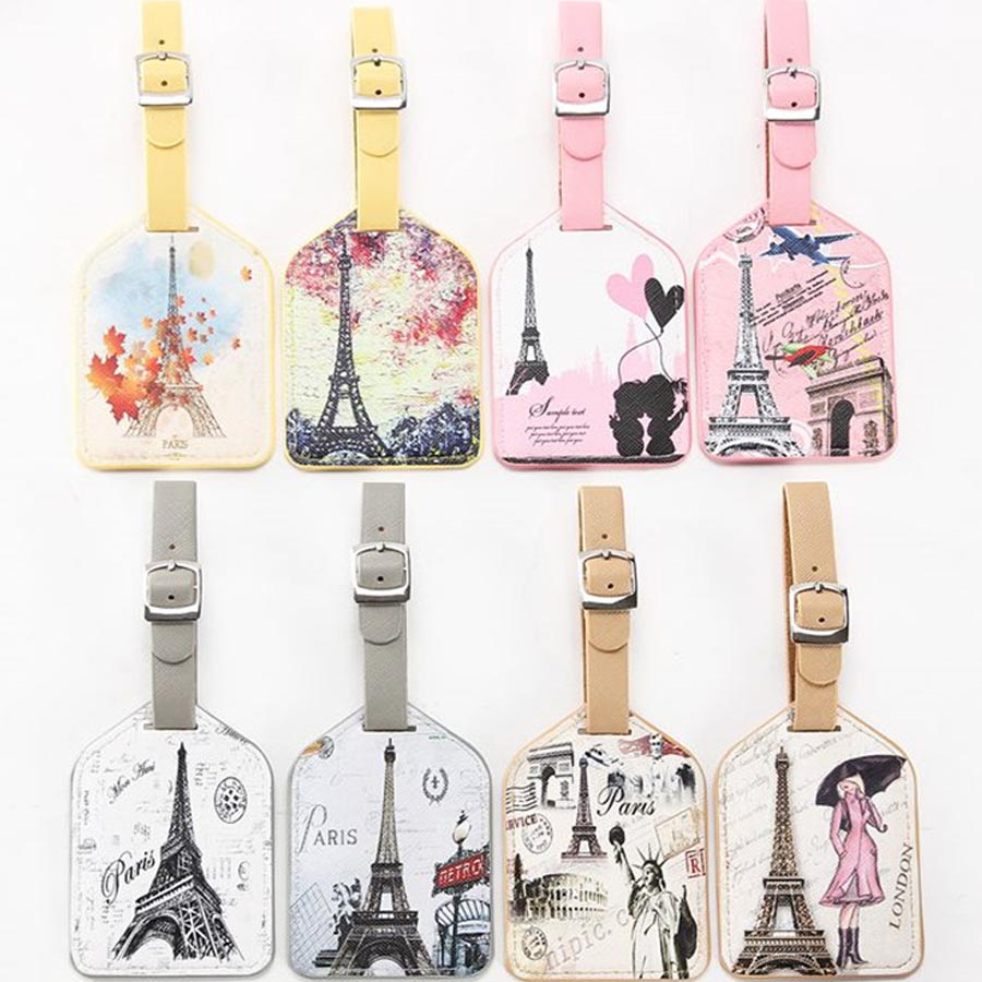 Zoukane Eiffel Tower Old Times Suitcase Leather Luggage Tag Label Bag Pendant Handbag Travel Accessories Name ID Address LT08
