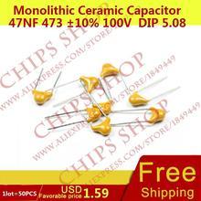 1 лот = 50 шт. монолитную Керамика конденсатор 47nf 473 10% 100 В DIP 5.08 мм 47000pf 0.047 мкФ