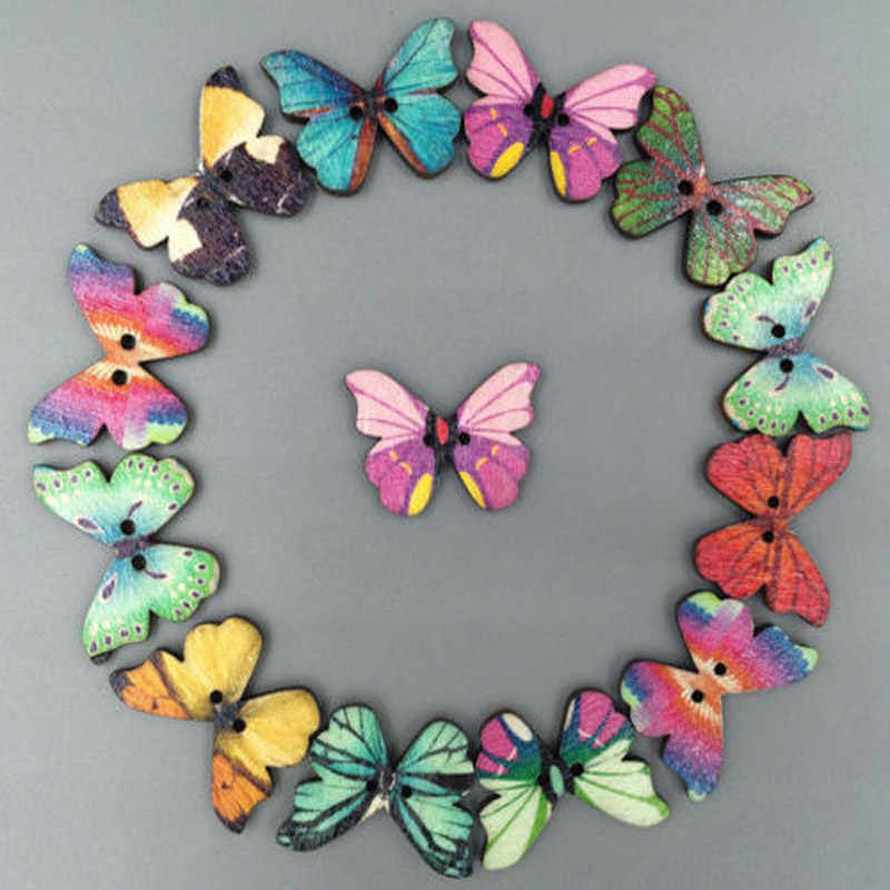 50pc Mixed Butterfly For Sewing Wooden Clothes Knitting Needles Crafts Scrapbooking DIY Fabric Needlework Buttons