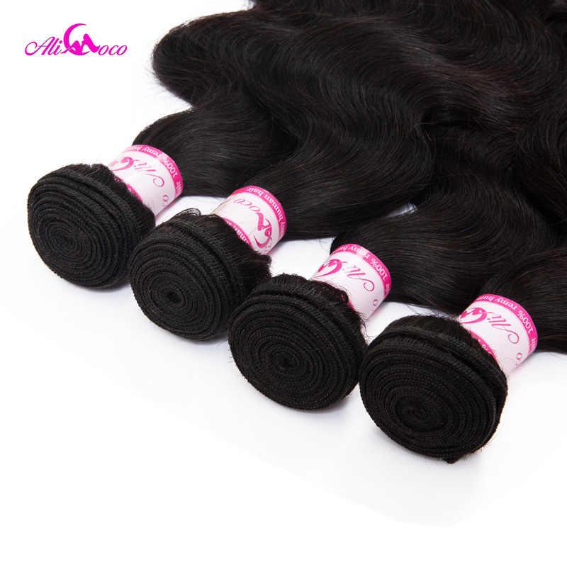 Ali Coco Braziliaanse Body Wave Haar Weave Bundels 100% Human Hair Bundels 1pc Niet Remy Hair Extensions 3 of 4 bundels Kan Kopen