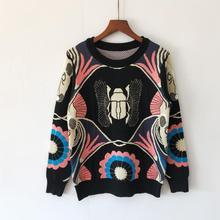 Осень Зима Жук цветочный узор круглый вырез с длинными рукавами трикотажная рубашка Женская мода дикий свитер