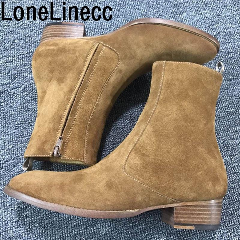 Couro Tornozelo De Luxo Clássico 1 Zíper Chelsea Wyatt Homens Arnês Botas Nobel 2018 Segurança Sapatos Camurça No Com Genuína Vintage xw0aRBXnCq