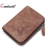 CONTACT S Men Wallets Women Leather Genuine Purses Famous Brand Card Holder Dollar Price Womens Wallets