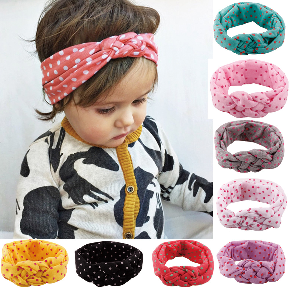 Fashion Baby Top Knot Headbands Baby Headwrap Polka Dot Cross Knot Baby Turban Tie Knot Headwrap Christmas Gift