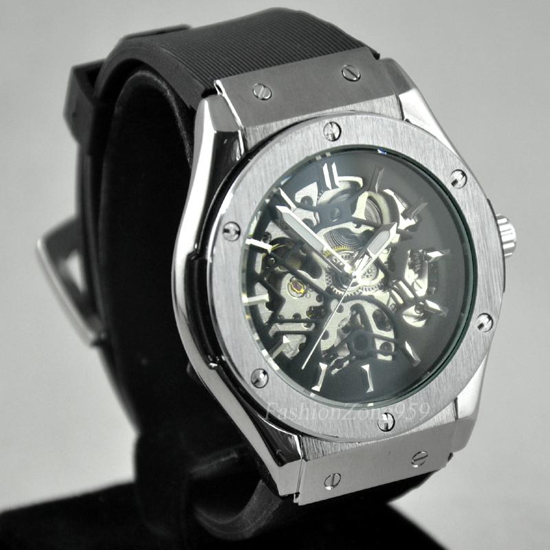 Prix pour Top marque de luxe mens montres automatique mécanique squelettique creuse horloge montre jaragar bracelet en caoutchouc montre-bracelet relogio masculino