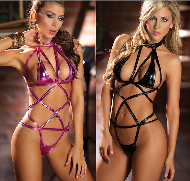 Sexy Lingerie Black Rose Red Leather Halter Bandage Hollow Three Point Women  Night Underwear Set 2017 Hot Babydoll 196631a43