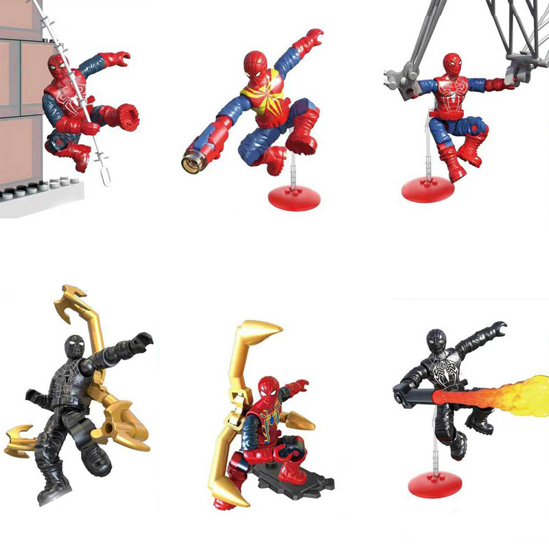 Into The Spider Verse Marvel Super Heroes Mega Building Block Iron Amazing Spiderman Noir Action Figures Assemable Bricks Toys