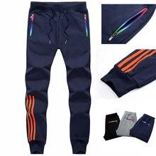 Calças casuais masculinas, slim fit, de algodão, listradas, musculação, roupas esportivas, M-5XL