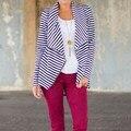 Winter Autumn Coat 2017 Women Striped Print Jackets Long Sleeve Turn Down Collar Zipper Asymmetrical Coats Outerwear Plus Size