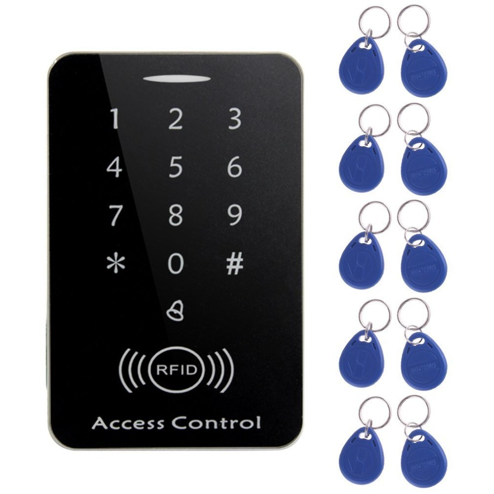 LESHP RFID Standalone Access Control Touch Keypad System Digital Keyboard Door Lock Controller RFID Card Reader with 10pcs Keys rfid standalone access control card reader with digital keypad 125khz 13 56mhz smart card lock with lcd screen for secure system